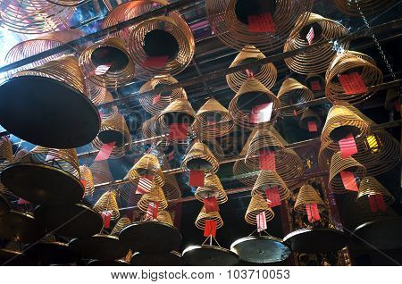 Incense Coils At Man Mo Temple, Hong Kong Island