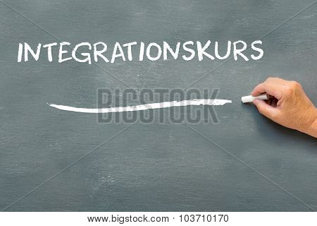 Hand Writing On A Chalkboard The German Word Integrationskurs