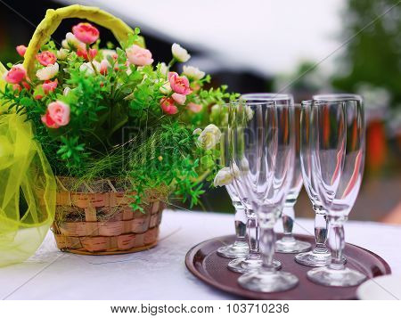 Fine Banquet Table Setting With Bouquet And Glasses