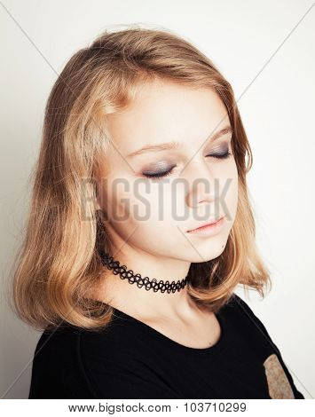 Caucasian Blond Teenage Girl With Closed Eyes