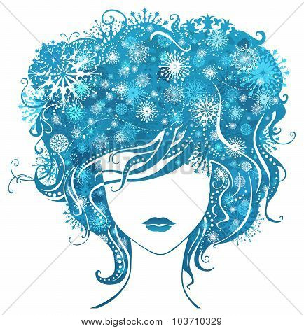 Abstract Girl With Snowflakes In Hair.