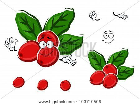 Cartoon red berries of coffee with leaves