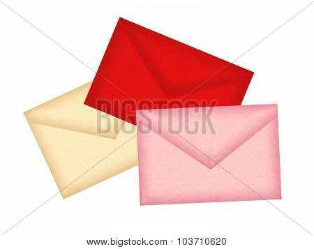 Color Letters Envelopes Isolated On White