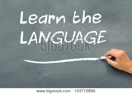 Hand Writing On A Chalkboard Learn The Language