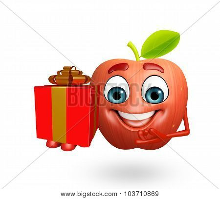 Cartoon Character Of Apple Fruit With Gift Box