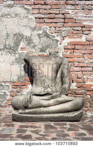 Damaged Buddha Statue At Wat Mahathat, Ayutthaya, Thailand