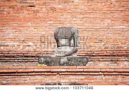 Damaged Buddha Statue In The Grounds Of Wat Mahathat, Ayutthaya, Thailand