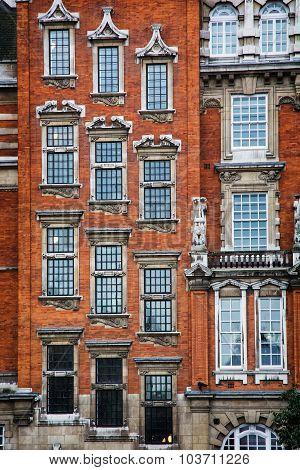 Facade Of Brick Historic Building In London