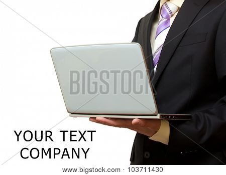 Template for compnay. Man with laptop