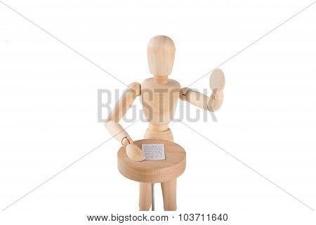 Wooden Puppet Delivers A Speech