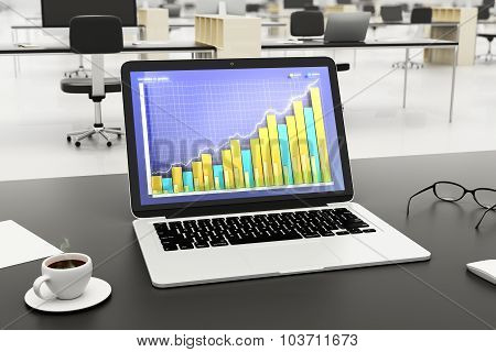 Desktop With Business Chart, Cup Of Coffee And Glasses In The Office