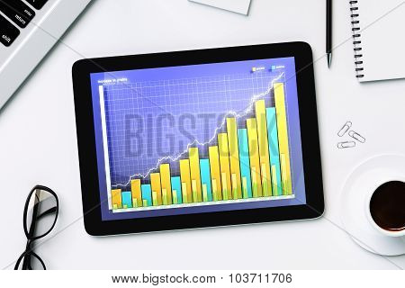 Coffee Mug, Glasses And Tablet With Business Chart