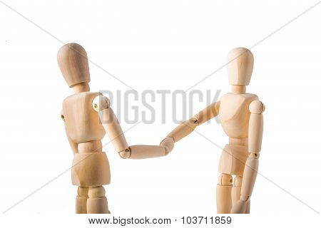 Two Puppets Shaking Hands