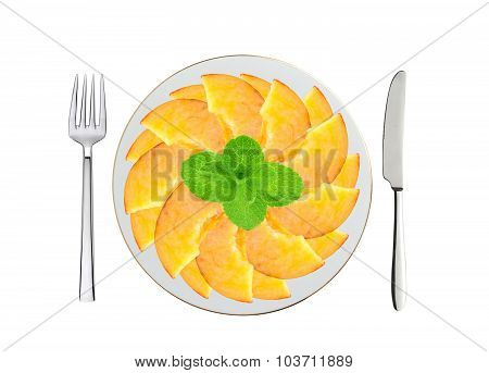 Fresh Peach Slices And Mint On White Plate, Spoon And Fork Isolated On White
