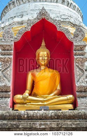 Golden Buddha Inside Chedi At Wat Buppharam, Chiang Mai