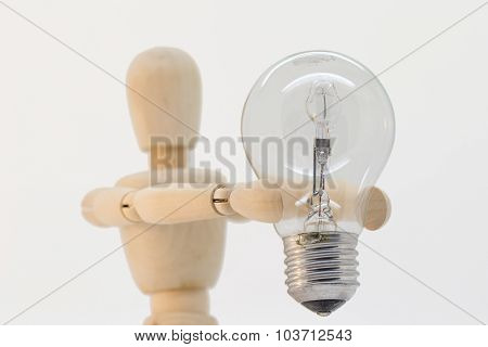 Wooden Gut Presenting A Light Bulb
