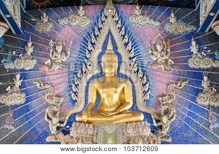 Golden Buddha Statue On The Altar At Wat Pariwat, Bangkok