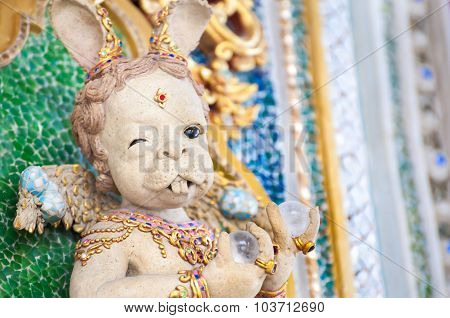 Strange Rabbit Sculpture At Wat Pariwat, Bangkok