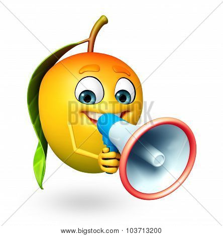 Cartoon Character Of Mango With Loudspeaker