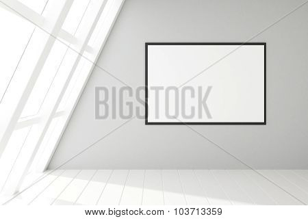 Blank Frame In An Empty White Loft Interior