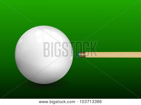 Billiard Cue Aiming On Ball