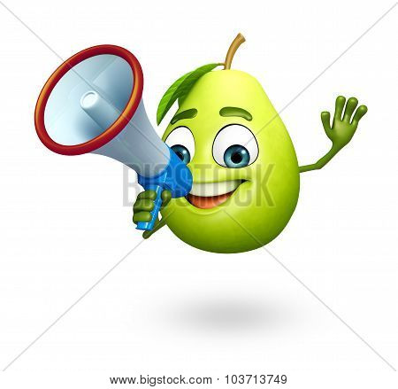 Cartoon Character Of Guava With Loudspeaker