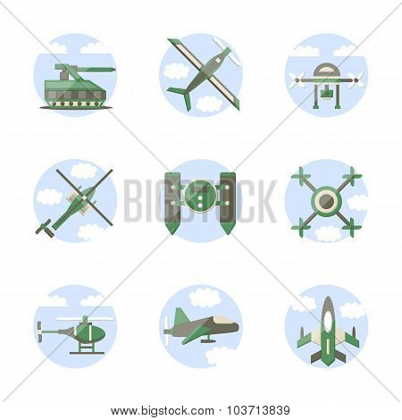 Flat color style military robots vector icons