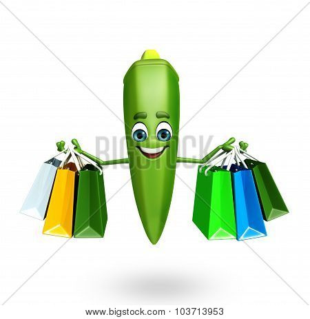 Cartoon Character Of Ladyfinger With Shopping Bag