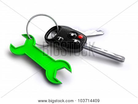 Car Keys With Green Spanner Icon As Keyring. Car Service And Repair.