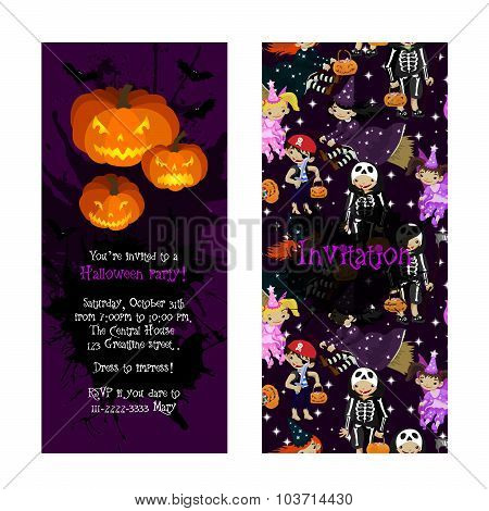 Invitation for kids Halloween party.