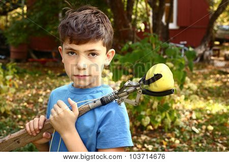 Boy Pluck Rapples From Tree With Special Device