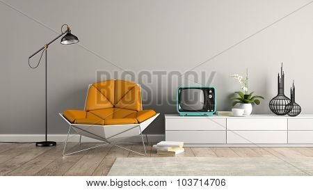 Part of interior with modern armchair and blue tv 3D rendering