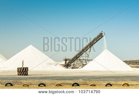 Industrial Salt Refinery With Operating Conveyor Belt - Emerging Industries Area In Namibia