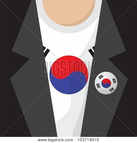 T-shirt With South Korea Flag Vector Illustration.