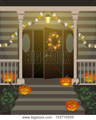 Halloween decorated front door.