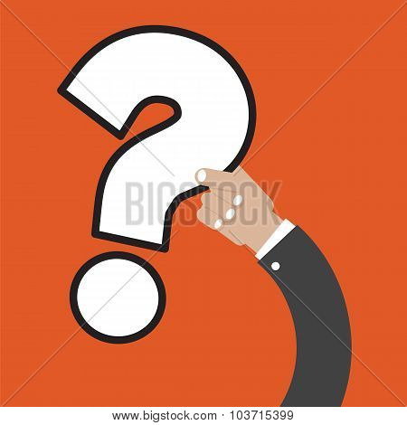 Question Mark In Hand Vector Illustration.