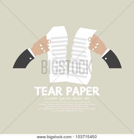 Hands Tears Paper Vector Illustration.