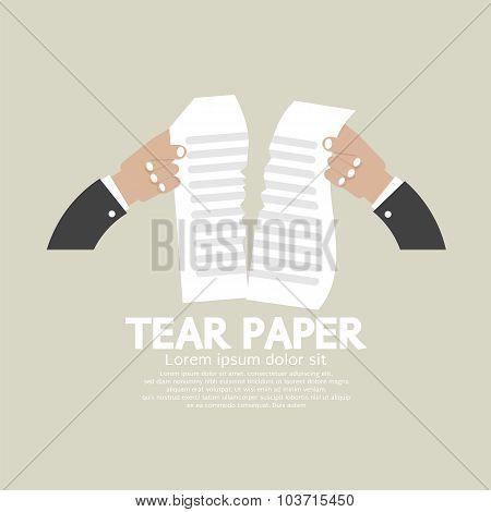 Hands Tears Paper Vector Illustration.