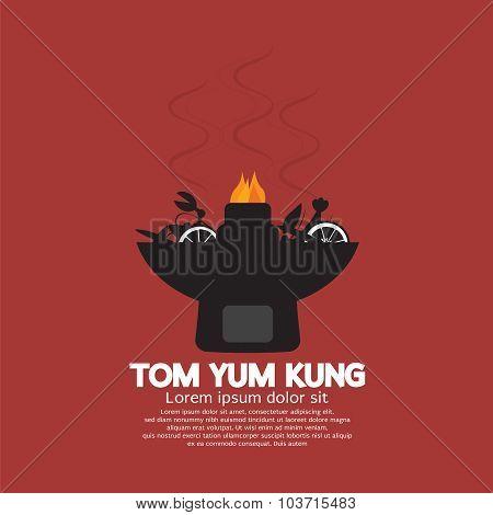 Tom Yum Kung Vector Illustration.