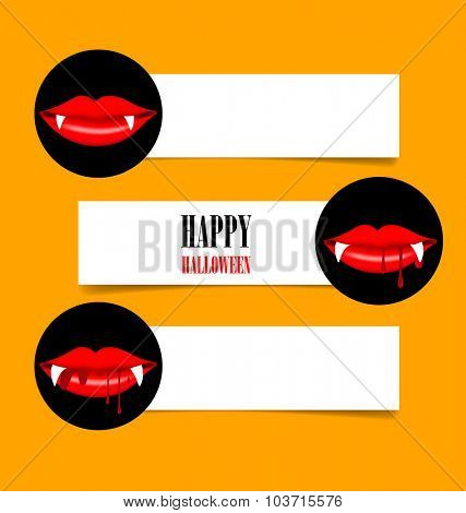 Happy Halloween design background, Cute note paper with Vampire mouth. Vector illustration.