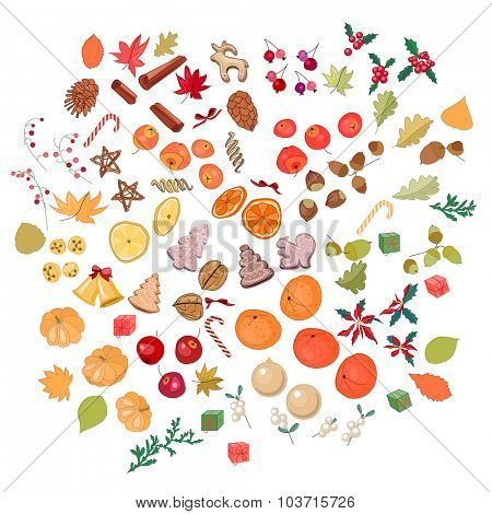 Big set with fruits, cookies, berries,spice, nuts and candies isolated on white.  For season design, announcements, postcards, posters.