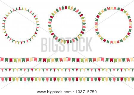 Round festive frames with flags, endless horizontal texture. Seamless pattern brushes.