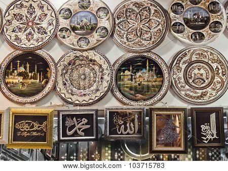 Turkish plates on Grand bazaar  in Istanbul