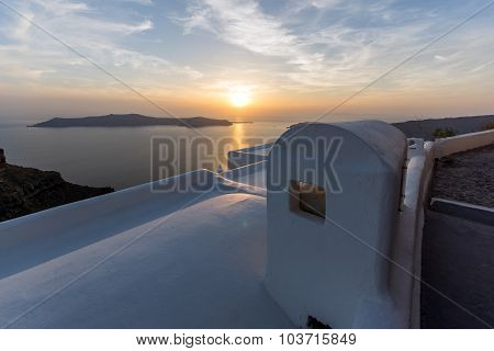 Sunset Landscape, Town of Imerovigli, Santorini, Thira, Cyclades