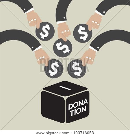 Donate Money To Charity Concept Vector Illustration.