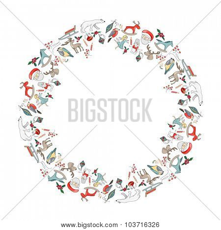 Round Christmas garland with decoration isolated on white. For Christmas design, announcements, postcards, posters.