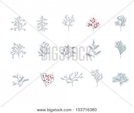 Set of different contour winter trees isolated on white.  For season design, announcements, postcards, posters.