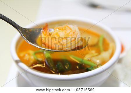 shrimp in hot sour soup