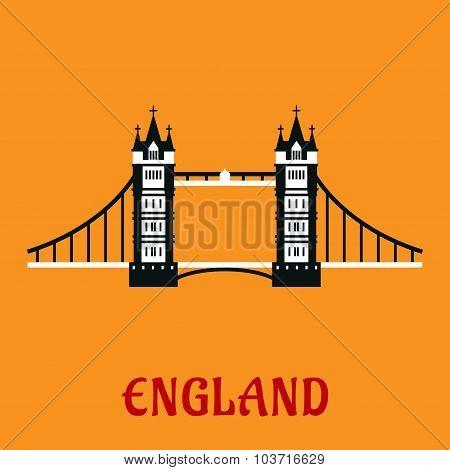 Flat icon of Tower Bridge in London