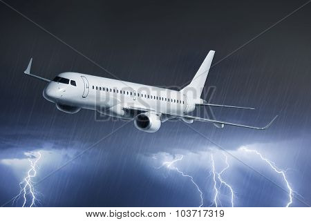 Passenger Airplane On Thunderstorm